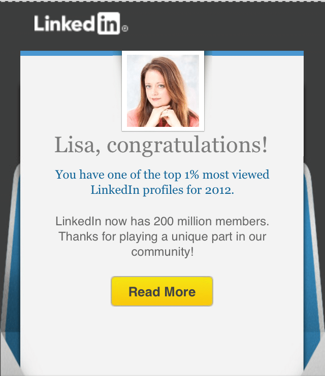 Top 1% Most Viewed LinkedIn Profile – Congratulations LinkedIn!!
