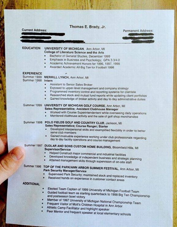 Does Your Resume Look like Tom Brady\'s College Grad Resume from 1999?