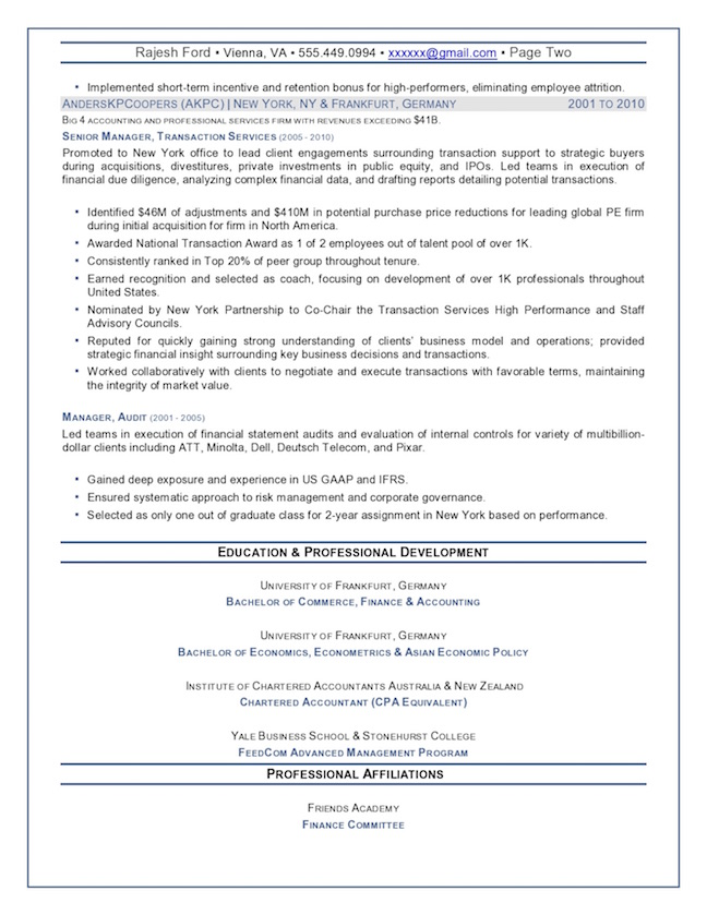 ... Chief Financial Officer Resume Sample U2013 Senior Finance Executive Page 2  Professional Resume Example