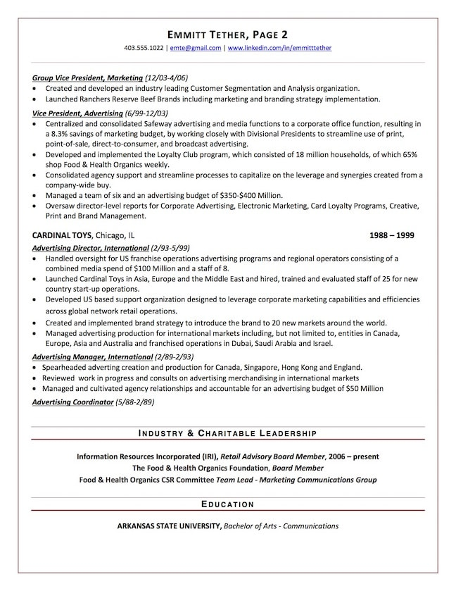 chief marketing officer resume sample chief marketing officer resume sample page 2