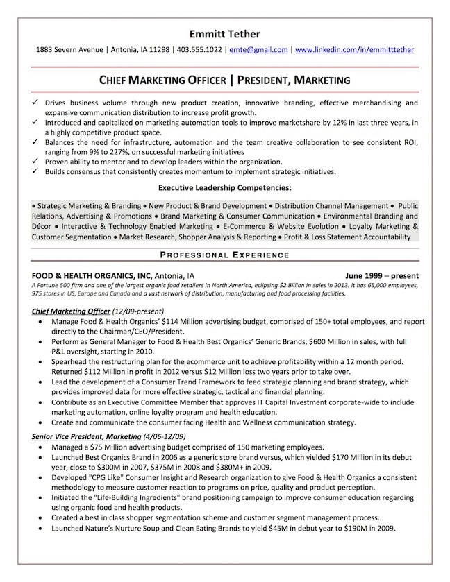 Chief Marketing Officer Resume Sample ...