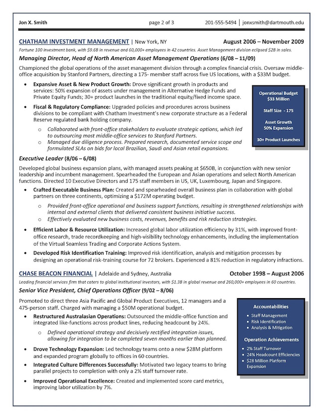 chief operations officer coo global operations director resume example page 2 - Senior Executive Resume Examples