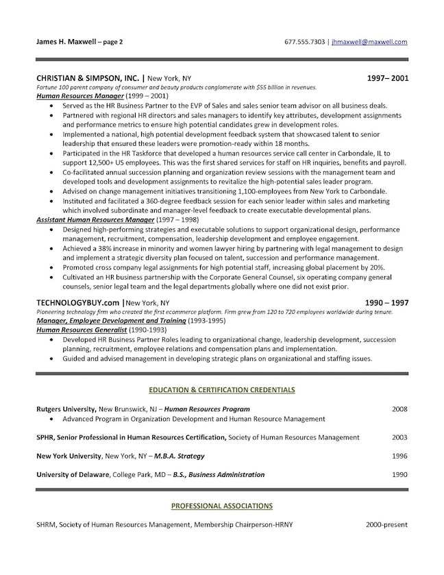 executive resume format examples human resources sample page free templates downloads