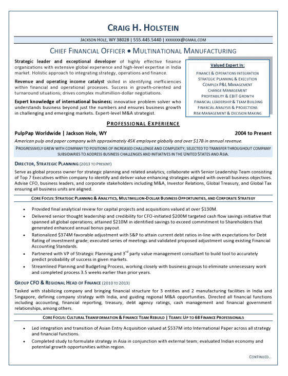 cfo resume sample manufacturing - Resume Sample Finance