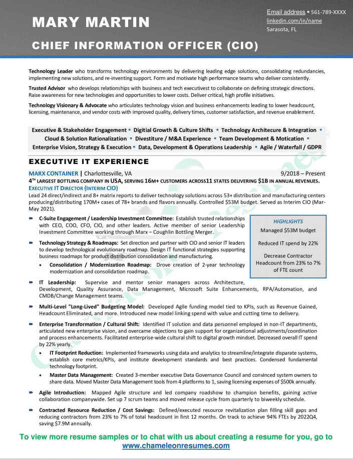Chief Information Officer (CIO) Executive Resume Sample 2021