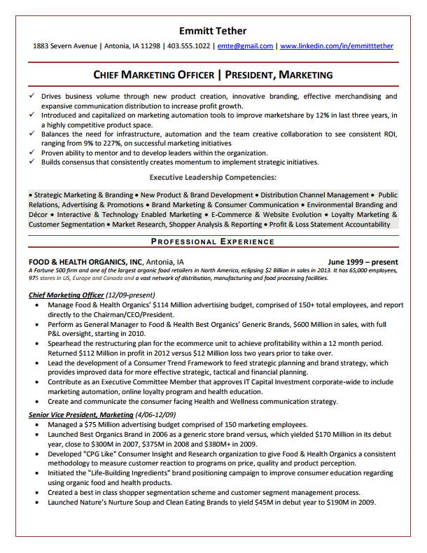 Chief Marketing Officer Resume Sample  Branding Statement Resume