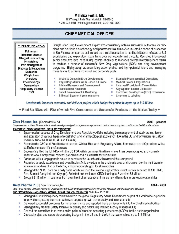 chief medical officer resume sample medical affairs - Executive Resume