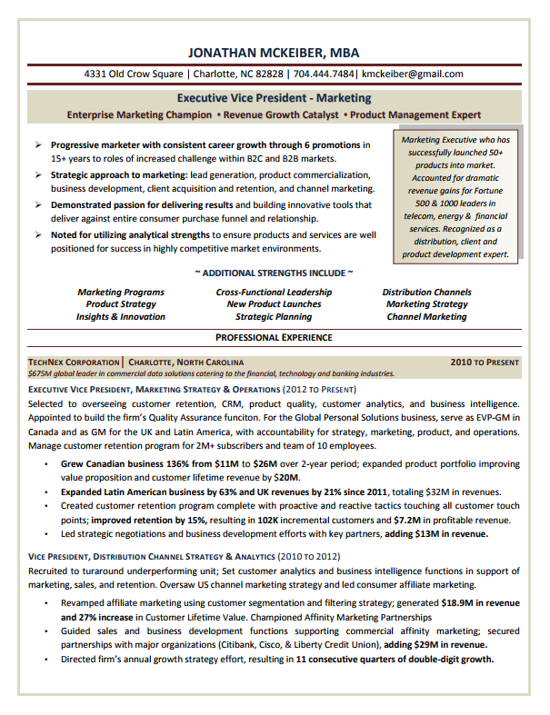 evp marketing executive resume sample - Sample Executive Resume