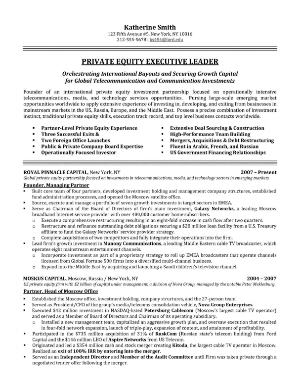 Financial Director U2013 Private Equity Executive Resume Sample