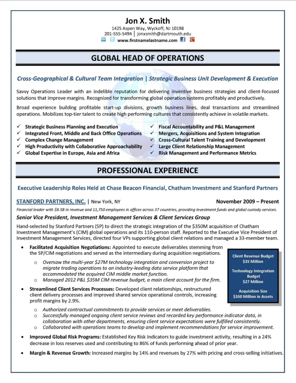 global operations director coo chief operations officer resume sample