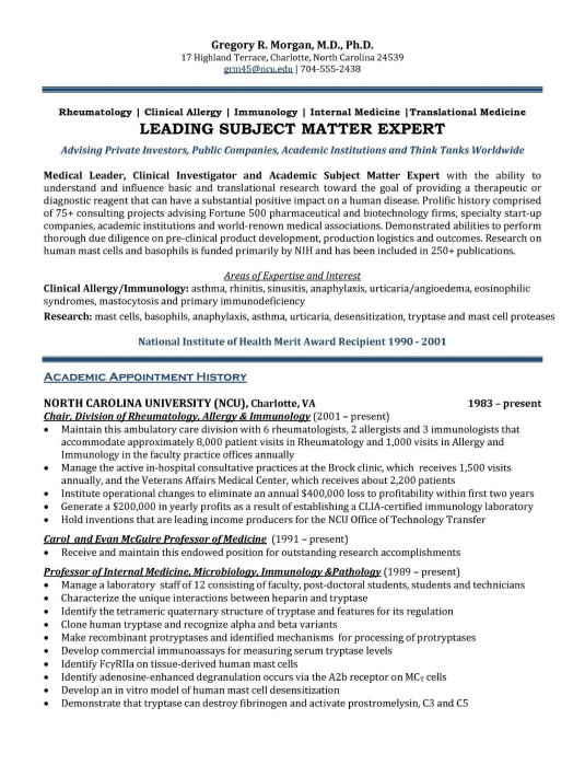 Healthcare Executive Resume Sample