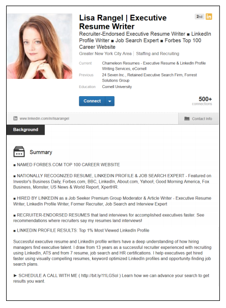 linkedin profile sample - Resume Profile