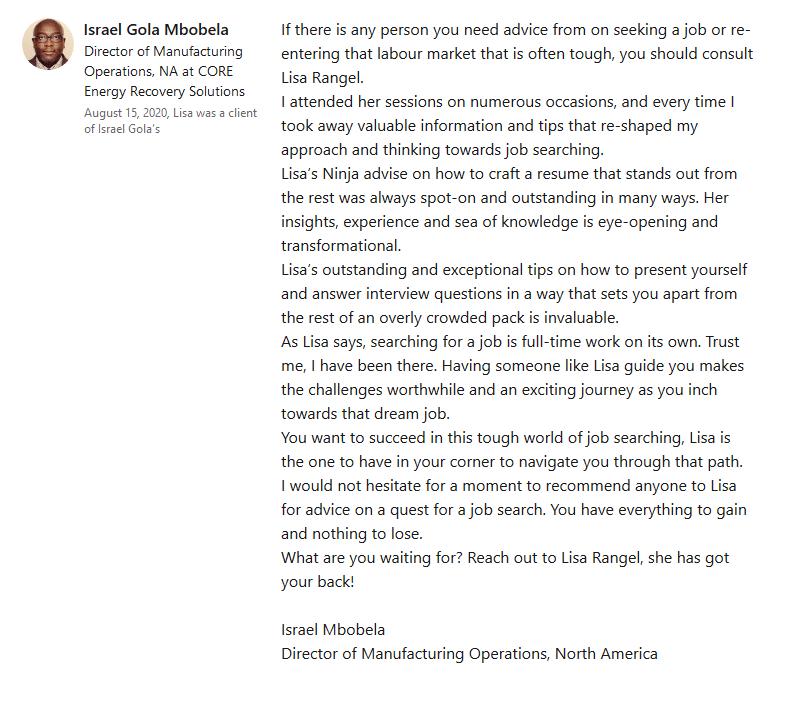 LinkedIn Recommendation - Israel Gola Mbobela